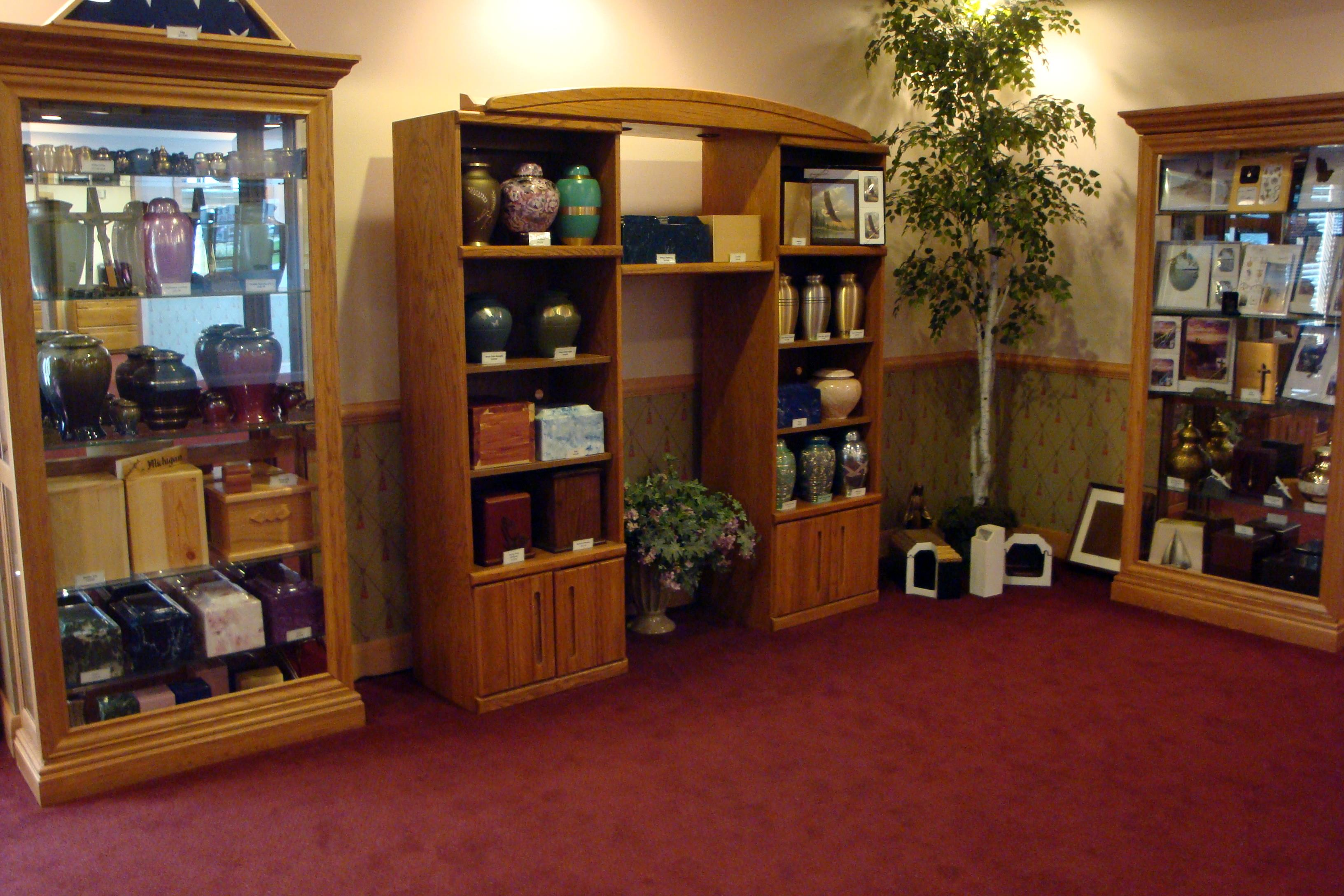 Displays of urns and memorial book packages